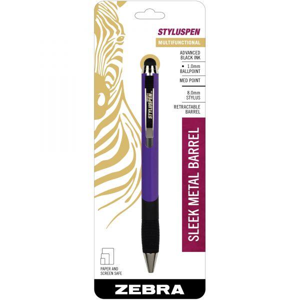 Zebra StylusPen Retractable Ballpoint Pen/Stylus, Purple