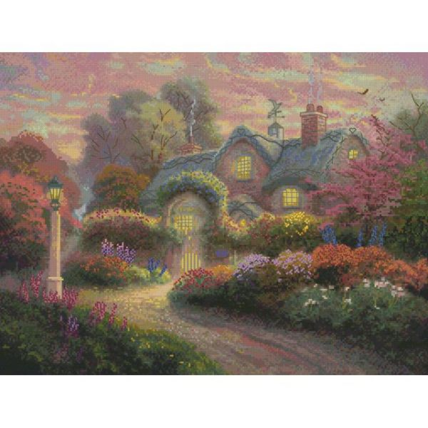 Thomas Kinkade Rosebud Cottage Counted Cross Stitch Kit