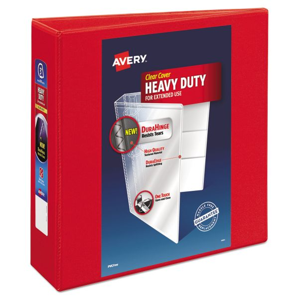 "Avery Heavy-Duty 3-Ring View Binder w/Locking 1-Touch EZD Rings, 3"" Capacity, Red"