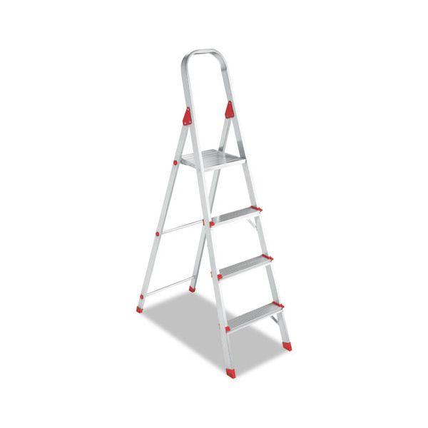 Louisville #566 Folding Aluminum Euro Platform Ladder, 4-Step, Red