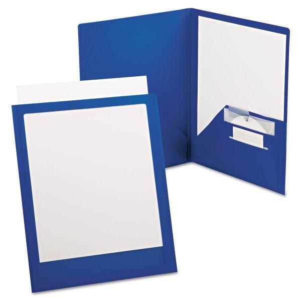 Oxford ViewFolio Plus Polypropylene Portfolio, 50-Sheet Capacity, Blue/Clear