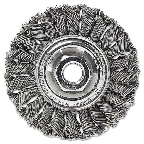 "Weiler Dualife STA-4 Twist Knot Wire Wheel, 4"" dia, Stainless Steel, .014 Wire"