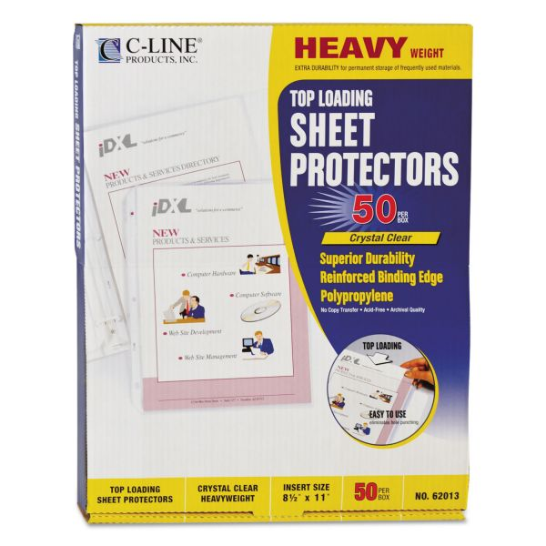 C-Line Top Loading Polypropylene Sheet Protector, Letter, Heavyweight, Clear, 50/Box