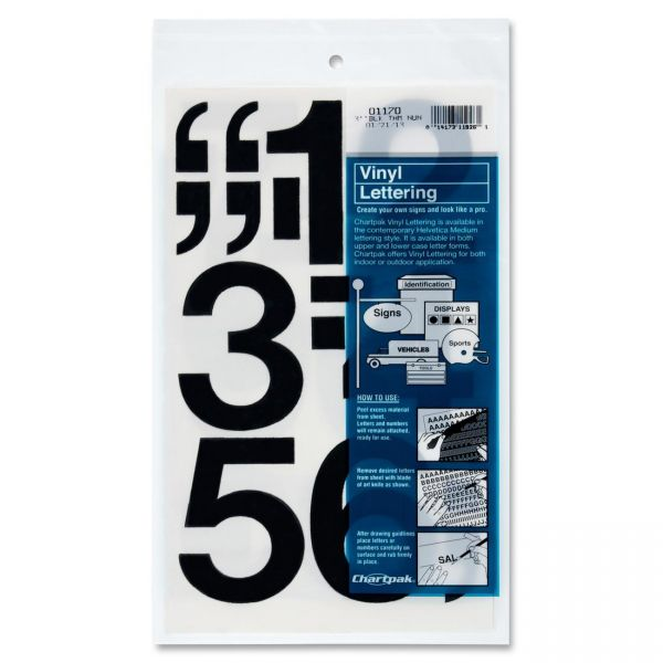 Chartpak Press-On Vinyl Numbers, 3 High, Black