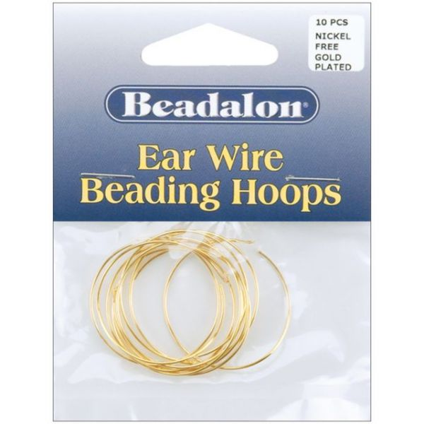 Beadalon Ear Wire Beading Hoops Large 30mm 10/Pkg