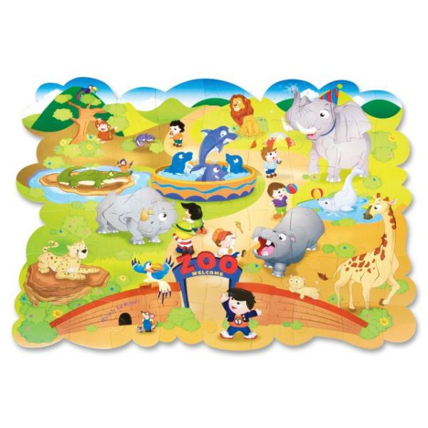 Chenille Kraft Giant Zoo Animals Floor Puzzle, Cardboard, 54 Pieces, 4 ft. x 3 ft.