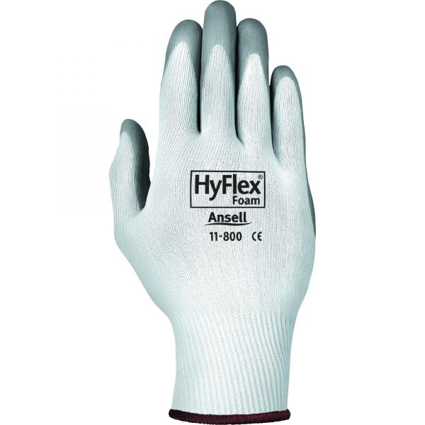 AnsellPro HyFlex Foam Gloves, White/Gray, Size 8, 12 Pairs