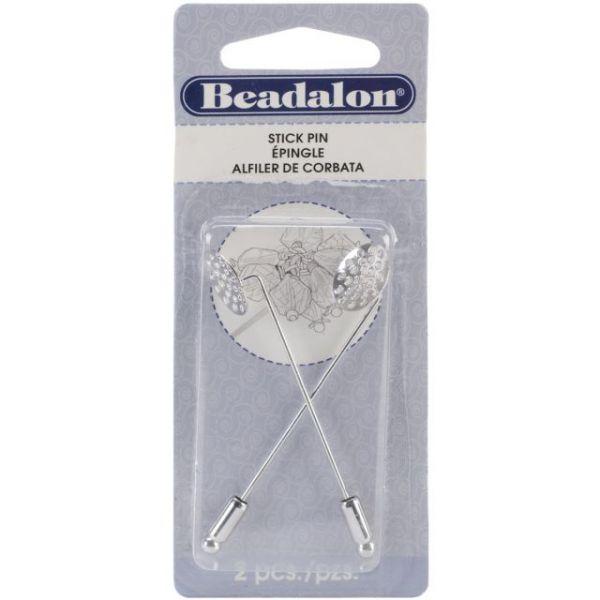 Beadalon Stick Pin W/Beading Disc 2/Pkg