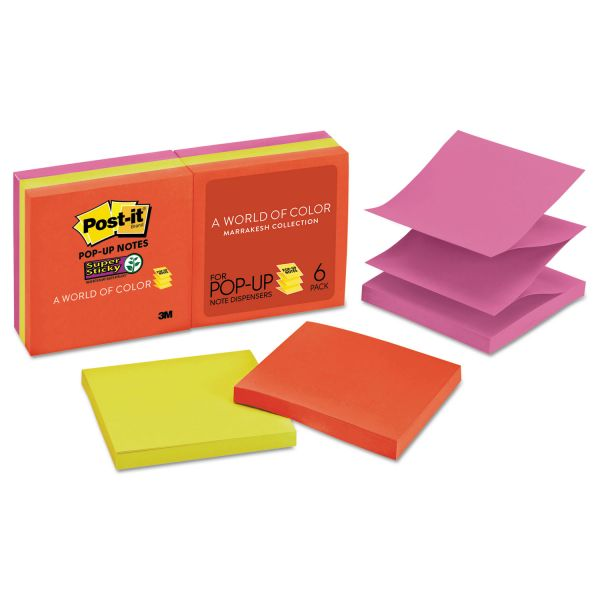 Post-it Pop-up Notes Super Sticky Pop-up 3 x 3 Note Refill, Marrakesh, 90 Notes/Pad, 6 Pads/Pack