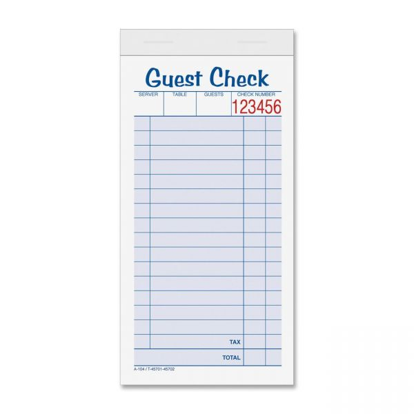 TOPS 2-part Carbonless Guest Check Books