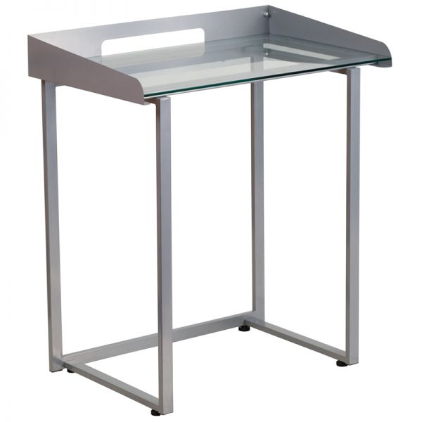 Flash Furniture Contemporary Desk with Clear Tempered Glass and Silver Frame