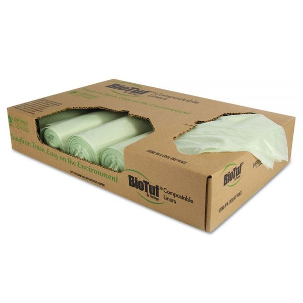 Heritage Biotuf Compostable Can Liners, 48 gal, 1 mil, 42 x 48, Light Green, 100/Carton