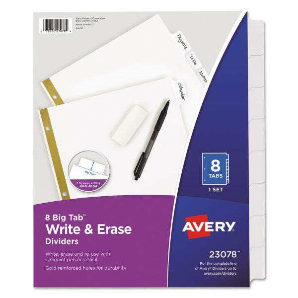 Avery Write & Erase Big Tab Paper Dividers, 8-Tab, White Tab, Letter, 1 Set
