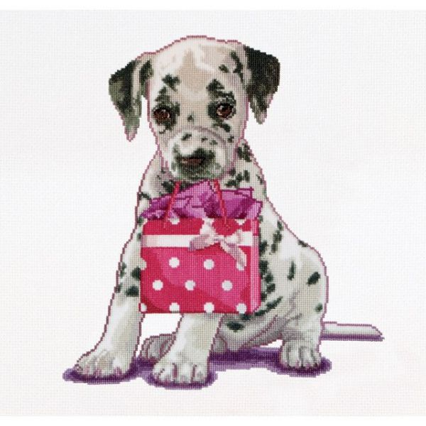 Puppy Went Shopping On Aida Counted Cross Stitch Kit