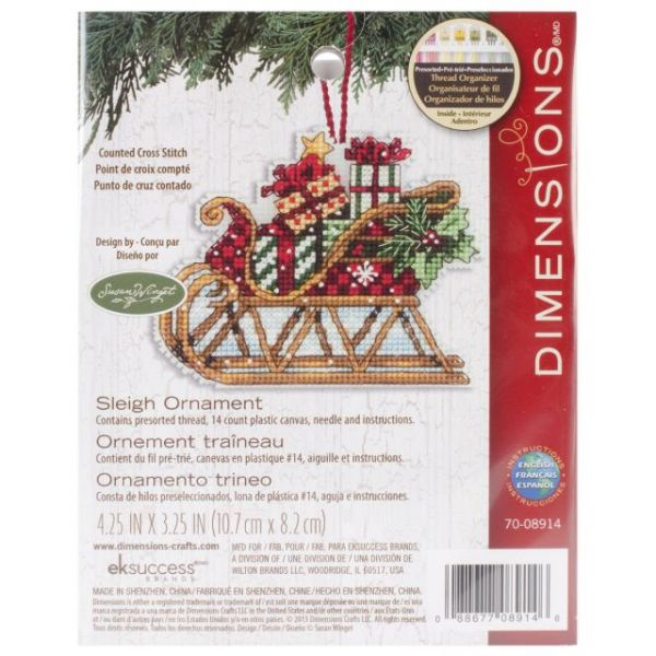 Susan Winget Sleigh Ornament Counted Cross Stitch Kit