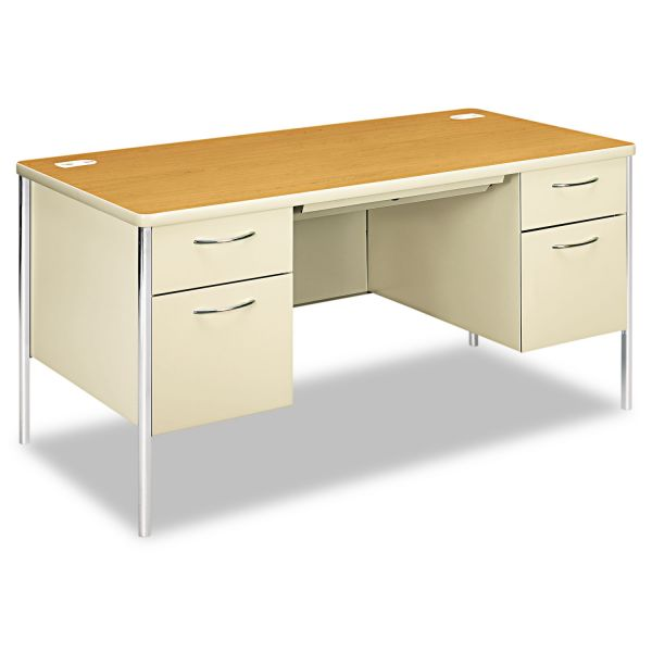 HON Mentor Series Double Pedestal Desk, 60w x 30d x 29-1/2h, Harvest/Putty