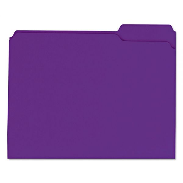 Universal Colored File Folders, 1/3 Cut Assorted, Two-Ply Top Tab, Letter, Violet, 100/Box