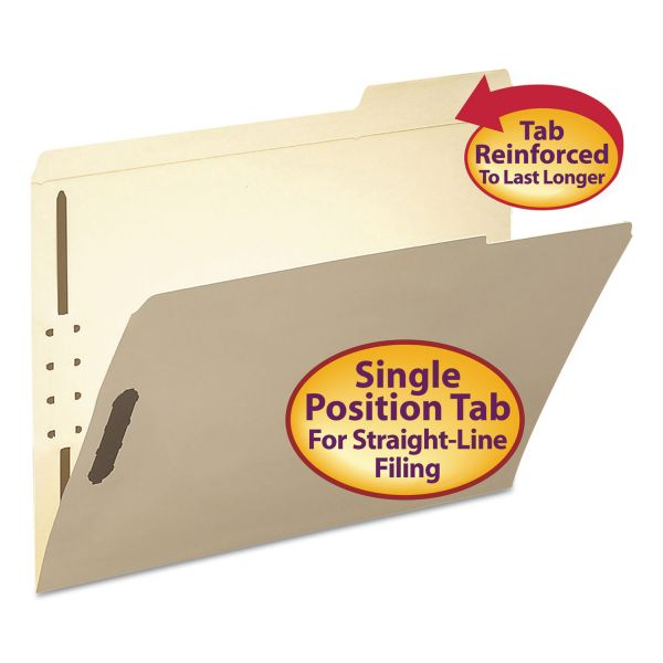 Smead Folder, Two Fasteners, 1/3 Cut Third Position, Top Tab, Letter, Manila, 50/Box