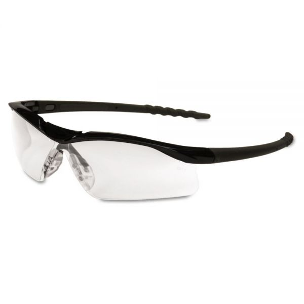 Crews Dallas Wraparound Safety Glasses, Black Frame, Clear Lens