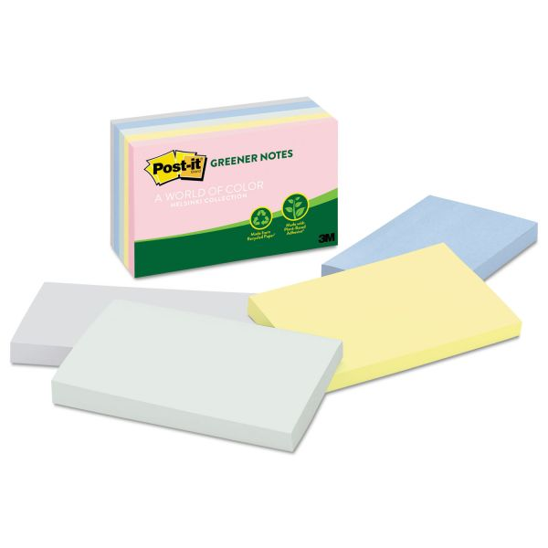 Post-it Greener Notes Recycled Note Pads, 3 x 5, Assorted Helsinki Colors, 100-Sheet, 5/Pack