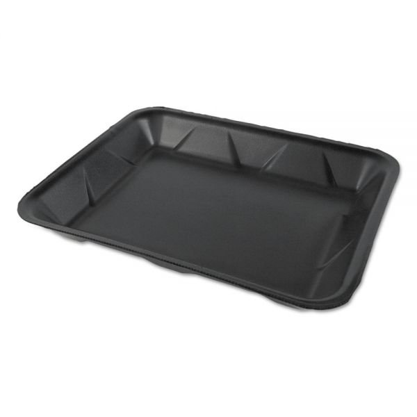 Genpak Processor/Heavy Supermarket Tray, Black, 9-1/4x7-1/4x1-1/8, 100/Bag, 4 Bags/CT