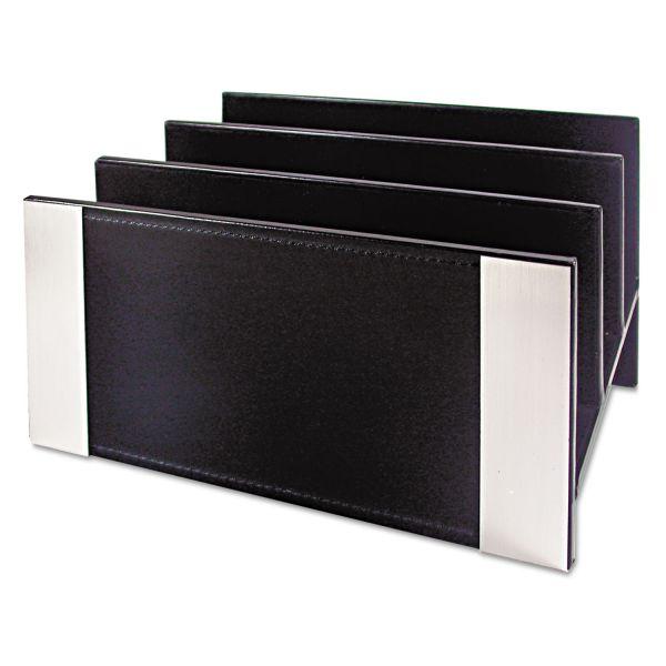 Artistic Architect Line Letter Sorter, 3 Compartments, 6 3/4 x 8 3/4 x 5, Black/Silver