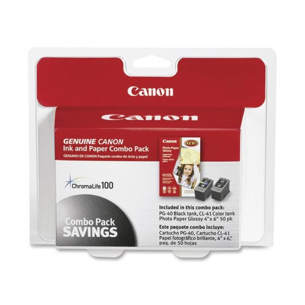 Canon PG-40 Black/CL-41 Color Ink & Paper Combo Pack (0615B009)