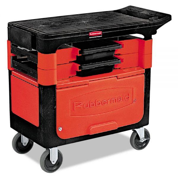 Rubbermaid Commercial Locking Trades Cart, 330-lb Cap, Two-Shelf, 19-1/4w x 38d x 33-3/8h, Black