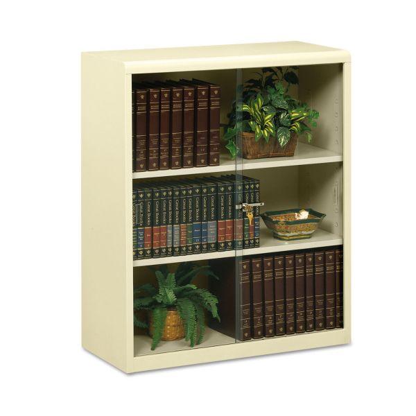 Tennsco Heavy-Gauge 3-Shelf Steel Bookcase With Glass Doors
