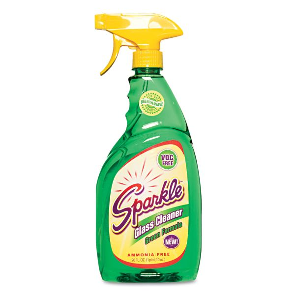Sparkle Green Formula Glass Cleaner, 26oz Spray Bottle