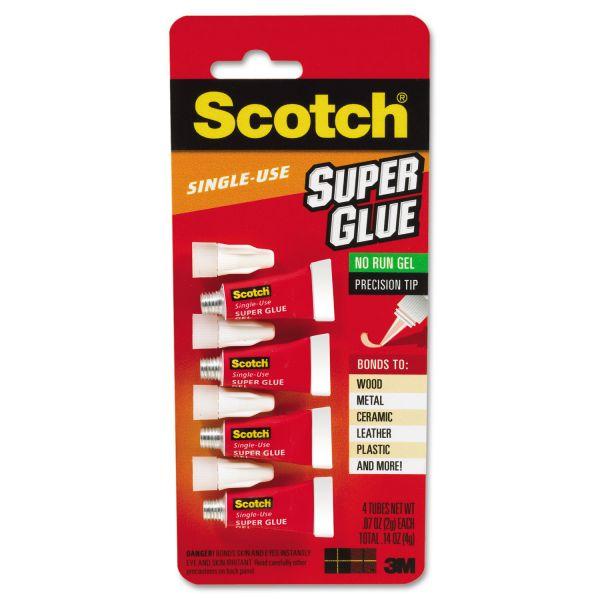 Scotch Single Use Super Glue, 1/2 Gram Tube, No-Run Gel, 4/Pack