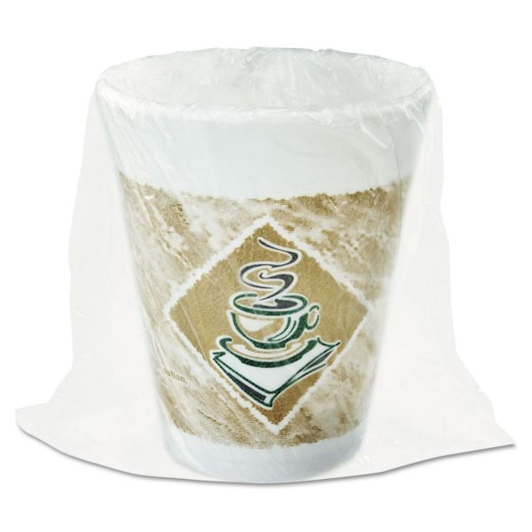 Dart Foam Hot/Cold Cups, 8 oz., Café G Design, White/Brown with Green Accents