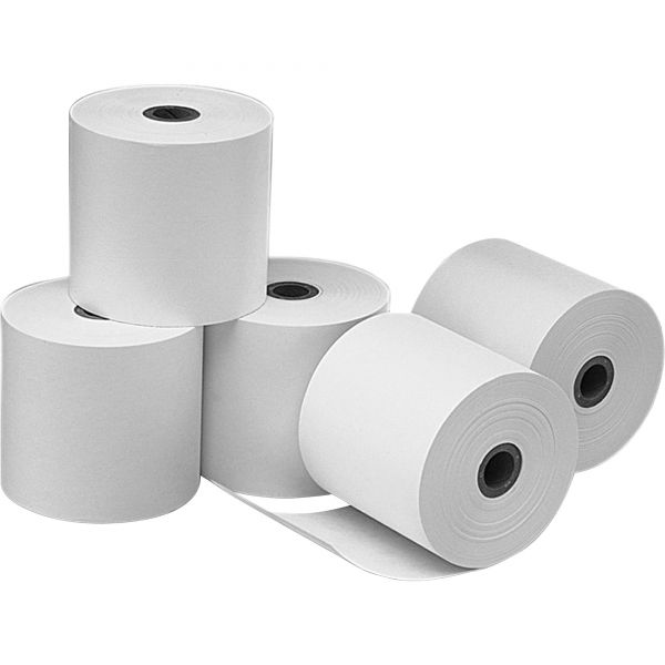 """PM Company Single Ply Cash Register/POS Rolls, 3 1/4"""" x 240 ft., White, 5/Pack"""
