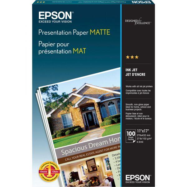 Epson Matte Presentation Paper, 27 lbs., Matte, 11 x 17, 100 Sheets/Pack