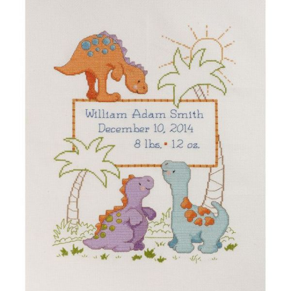 Cuteasaurus Birth Record Counted Cross Stitch Kit