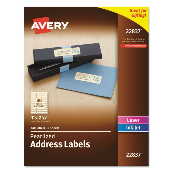 Avery Rectangle Labels, 1 x 2 5/8, Pearl Ivory, 240/Pack