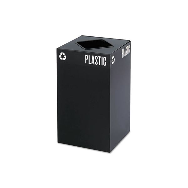 Safco Public Square Plastic-Recycling Container, Square, Steel, 25gal, Black