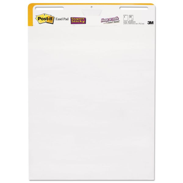 Post-it Easel Pads Self Stick Wall Easel Unruled Pad, 25 x 30, White, 30 Sheets, 2 Pads/Carton