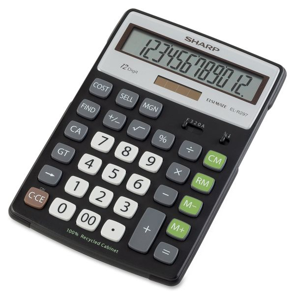 Sharp EL-R297BBK Recycled Series Calculator w/Kickstand, 12-Digit LCD