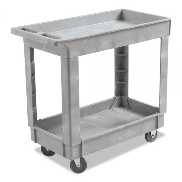 Boardwalk Utility Cart, Two-Shelf, 16w x 34d, Swivel Casters, Resin, Gray