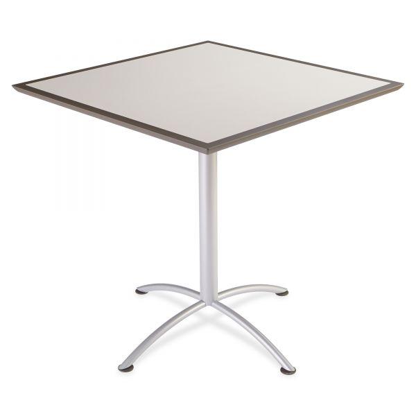 Iceberg iLand Table, Dura Edge, Square Bistro Style, 42w x 42d x 42h, Gray/Silver