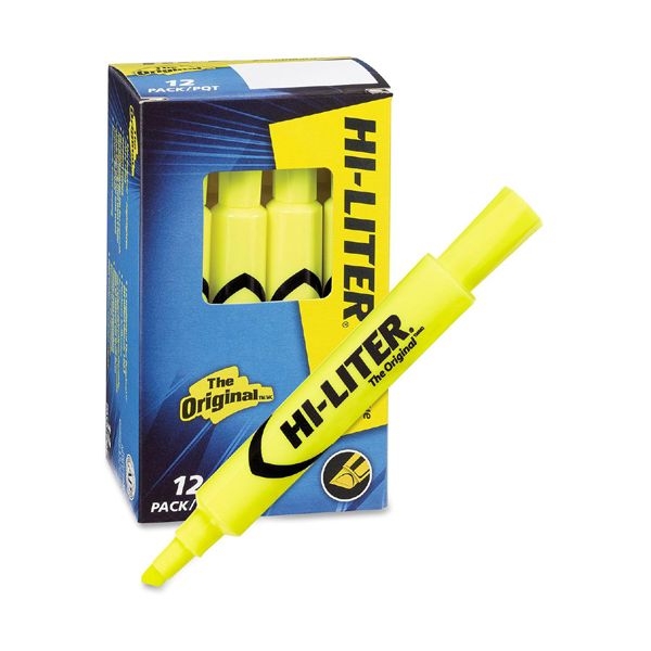 Avery HI-LITER Desk-Style Highlighter, Chisel Tip, Fluorescent Yellow Ink, Dozen