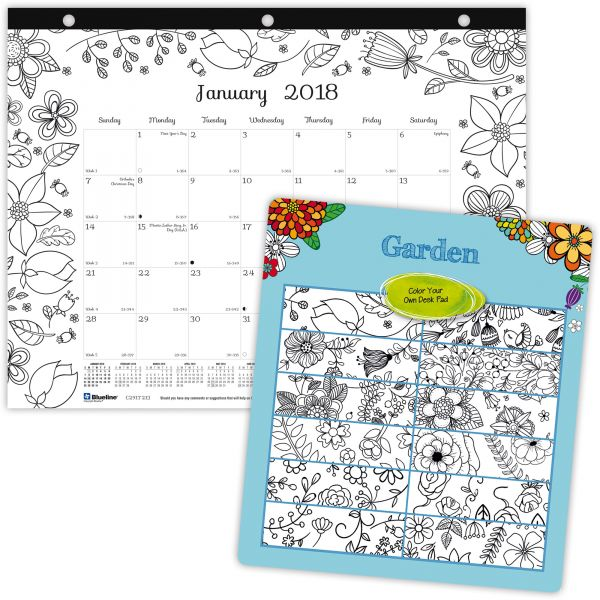 Blueline Garden Design Monthly Desk Pad
