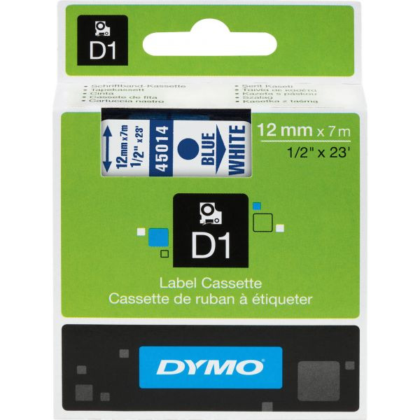 "DYMO D1 High-Performance Polyester Removable Label Tape, 1/2"" x 23 ft, Blue on White"