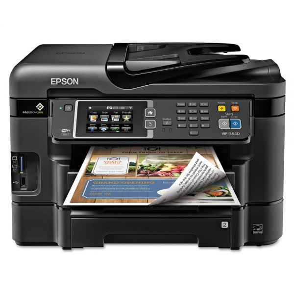 Epson WorkForce 3640 Wireless All-in-One Inkjet Printer, Copy/Fax/Print/Scan