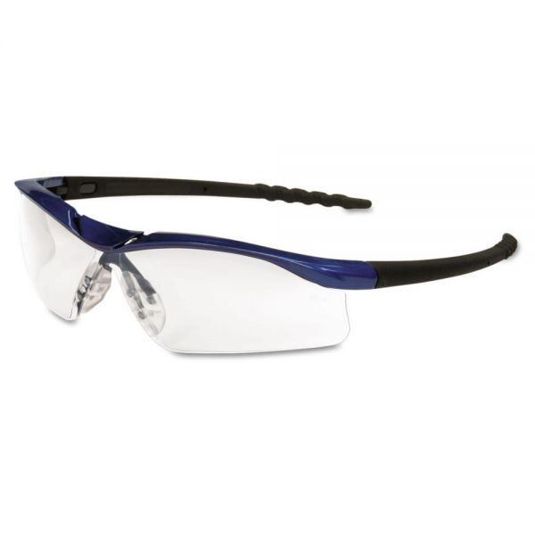 MCR Safety Dallas Wraparound Safety Glasses, Metallic Blue Frame, Clear AntiFog Lens
