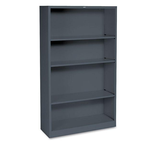 HON Metal Bookcase, Four-Shelf, 34-1/2w x 12-5/8d x 59h, Charcoal