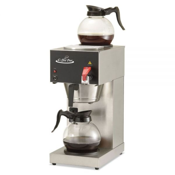 Coffee Pro Two-Burner Institutional Coffee Maker, 12 Cup, Stainless Steel, 9 x 16 1/2 x 19