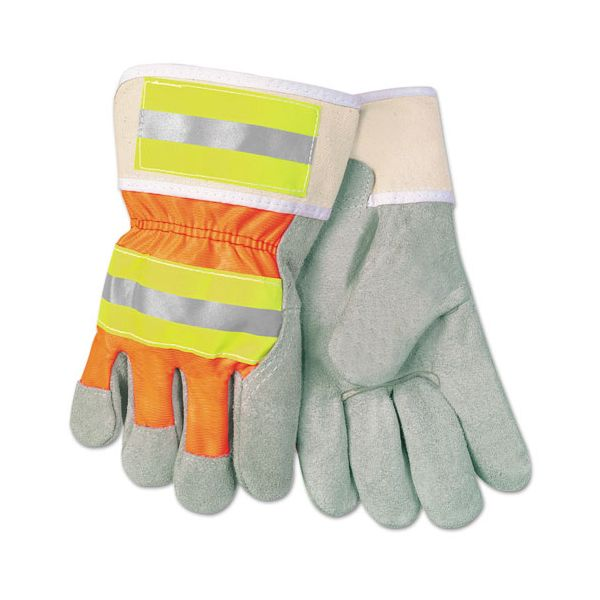 Memphis Luminator Reflective Gloves, Economy Grade Leather, Gray-Orange-Yellow, LG, 12PR