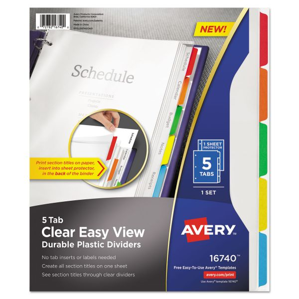 Avery Clear View Plastic Index Dividers with Sheet Protector